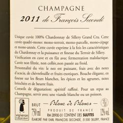 Francois Seconde - Champagne Sillery Grand Cru Blanc de Blancs Brut 2011